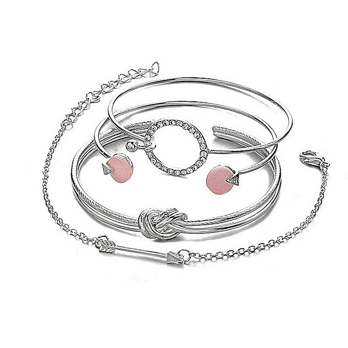 c4b11e4505bd8 4pcs Set Bohemia Vintage Bangle Silver Knot Ball Open Gold Bracelet For  Women Party Wedding Accessories Statement Jewelry 2019#1