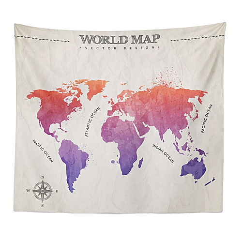 Muyi World Map Tapestry Beach Cover Up Tunic Tapestry Tablecloth