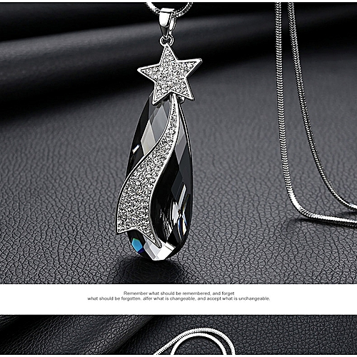 New Quality Fashion Crystal Drilling Water Drop Sweater Chain Dress Hanging  Necklace