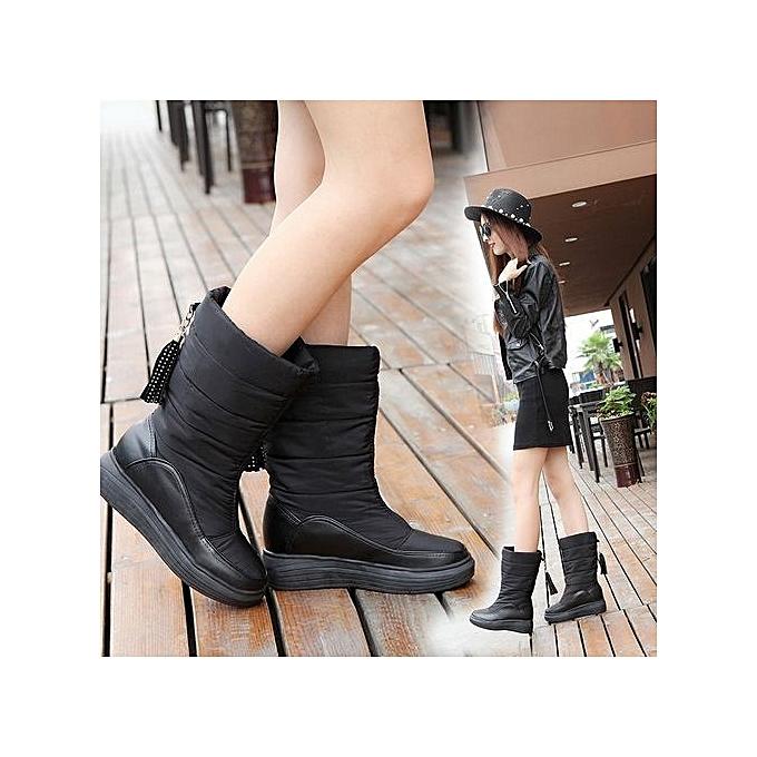 ddb0a638760 bluerdream-Winter Warm Snow Boots Cotton Shoes Flat Heels Knee High Boots  Women Boots BK