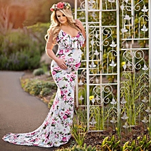 huskspo Women's Pregnancy V Collar Dress Maternity Summer Sleeveless Print Sundress