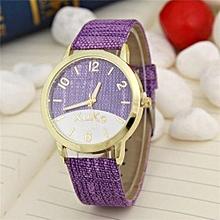 Women National Wind Casual Leather Strap Quartz Wrist Watch(Purple)