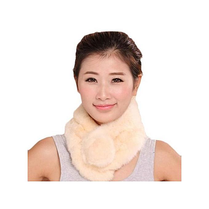f745e95659a Hiaojbk Store Women Winter Scarf Lady Casual Fur Scarves Fur Ball Velvet  Scarf Beige- Beige