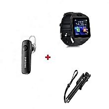 Bundle Smart Watch Phone Black + Free Bluetooth + Free Selfie Stick - Black