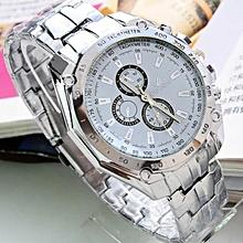 Men Fashion Stainless Steel Belt Sport Business Quartz Watch Wristwatches-White