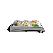 Triple Buffet Serving Set With Cover - HE-7725-BF-PBL - Silver