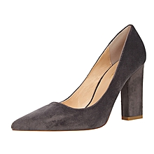 9.5cm High Square Heel Shallow Pointed Pumps  (Gray)