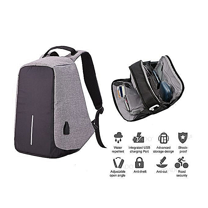Generic Anti-Theft Laptop Bag With USB Charging Port   Hidden Zipper Lock  Backpack - Grey 90b06db0ca794
