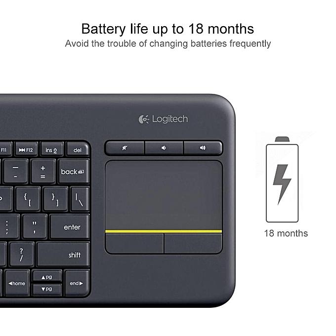 Logitech K400 Plus 2 4GHz Wireless Touch Control Keyboard, Wireless Range:  10m (Black)