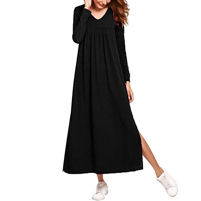80f0cac792a7 Fashion Women Loose Maxi Dress Solid Color Ruched Long Sleeves V-Neck  Elegant Dresses Black