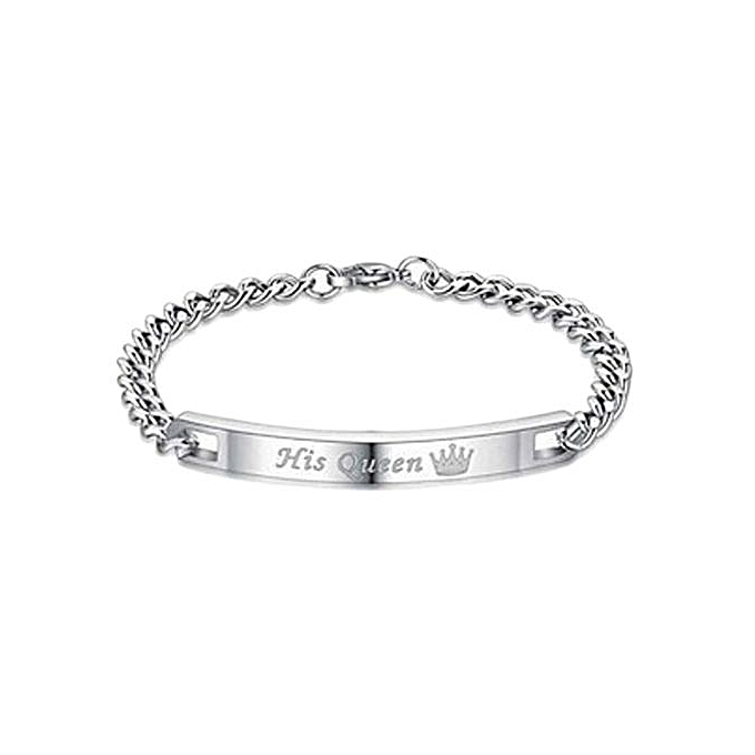 2017 Hot Her King His Queen Titanium Steel Couple Bracelet Fashion Jewelry Birthday Gift Valentines Day
