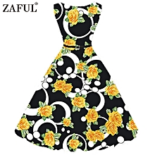 Women Hepburn Flaral Dot Printing Design Belt Dress - Yellow