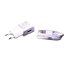 Travel  Charger - USB Cable - White.