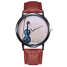 Watch Women's Fashion Casual PU Leather Strap Analog Quartz Round Watch-Coffee