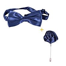 Satin Bow Ties Plus matching lapel -Blue