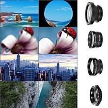 Universal Mobile Phone Lens 5 in 1 Fish Eye Wide Angle Macro 2X Teleconverter CPL Lens Detachable Clip-on Camera Lens Kit