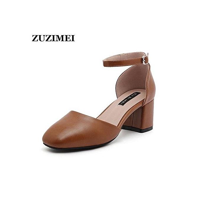 Fashion Women Sandals PU Summer Shoes Office Career Sandals Elegant Brand  Shoes Sandalias Women Square Heels d2659aa390d