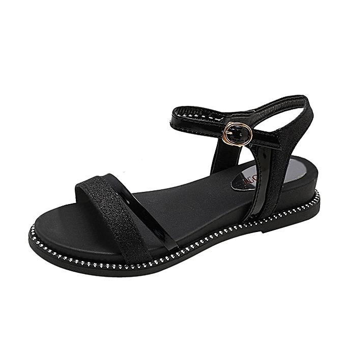 2cc658c96669 Fashion Women Sequins Flat Heel Anti Skidding Beach Shoes Sandals Slipper  ...
