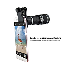 Camera Lens 18x Metal Telephoto Lens 6.2°Wide Angle Clip-On Lenses with Universal Clip Patch for iphone X 8 7 6s 6 plus Samsung Smartphones Tablet