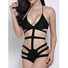 Sexy Halterneck Black Blue Cut Out Bandage One Piece Monokini Swimwear