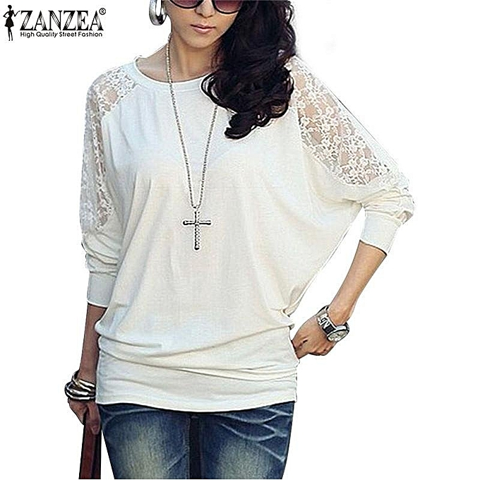 13d7943f Fashion Sexy Women's Casual Batwing Loose Lace Long Sleeve Tee Shirt Blouse  Top Size White
