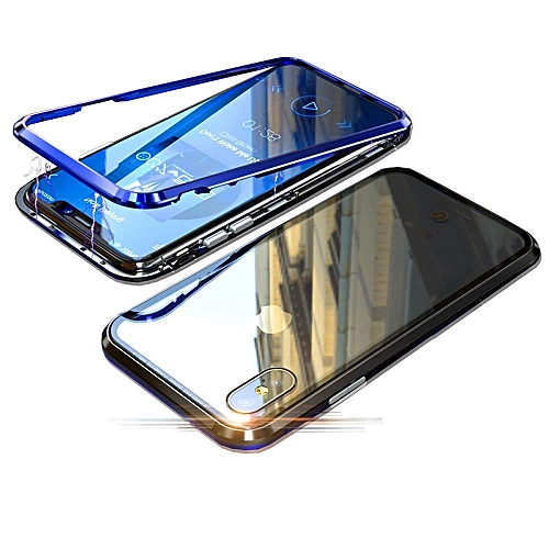 lowest price e81ee cbde0 IPhone X Case,Magnetic Adsorption Case Metal Bumper Case +Tempered Glass  Back With Built-in Magnet Flip Cover For for iphone X (Blue)