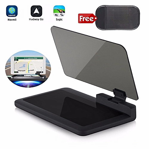 Head-up Display GPS Navigation Car Dash Mount Cell Phone Holder Reflective  Film, Vehicle HUD Smartphone Holder Mount for iPhone