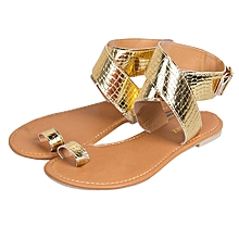 Generic Women Cross Belt Rome Strappy Gladiator Low Flat Flip Flops Beach Sandals Shoes A1