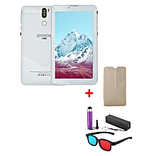 "A7 Plus Kids Tablet – 7""  – 1GB RAM – 16GB ROM – Wi-Fi - 4G (Single SIM) - Silver White with with Free Stylus, Cover, Powerbank & 3D Glasses"