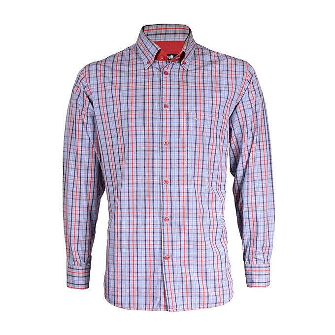 fffba46997 Generic Men's Long Sleeved Formal Checked Shirt-Multicolored @ Best ...