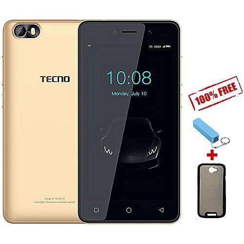 "F1 - [8GB+1GB RAM] - 5.0"" Display - 2000mAh Battery - Dual SIM - Champgne Gold + Free Case + Power Bank"