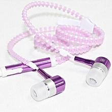 Glow In-Ear Luminous Light Metal Zipper Earphone Glow In The Dark Headset For Iphone Samsung Pink