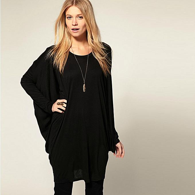 192a4c1e7e6ca Chic Women Over Size T-Shirt Batwing Long Sleeve Knit Loose Tops Shirt  Black