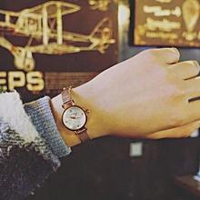 Silver Gold Stainless Steel Round Case Thin Metal Slim Chain Quartz Watch