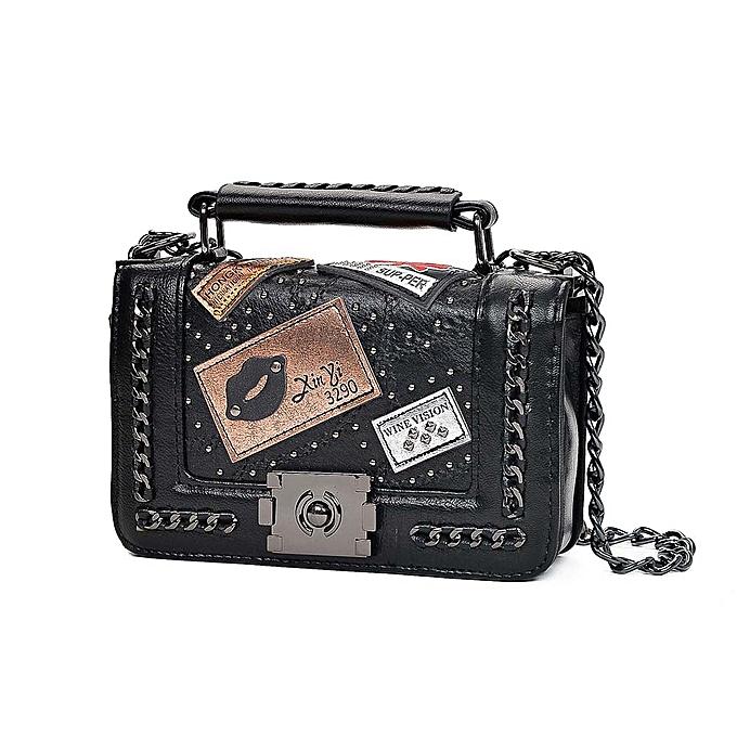 18ec03644e Generic Vintage Women Crossbody Bag Handbags Chain Strap Lock Buckle Small  Flag PU Leather Shoulder Bags