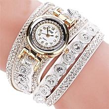 guoaivo  CCQ Women Fashion Casual Analog Quartz Women Rhinestone Watch Bracelet Watch WH -White