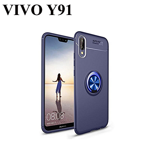 For VIVO Y91 Soft TPU Back Cover Ring Holder HP Case (Blue)