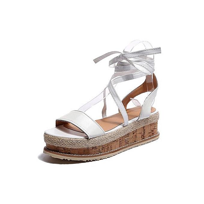 fc715b0f0d64 Jiahsyc Store Ladies Women Roman Shoes Platform Woven Thick-Bottom  Waterproof Wedge Sandals-White