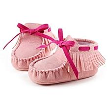 bluerdream-Baby Toddler Infant Newborn Prewalker Boots Tassel Shoes Soft Sole PK/11-Pink