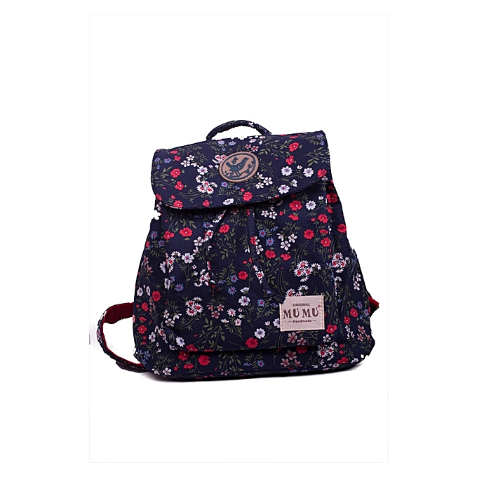 f7226d1eac4b Buy Generic Stylish Ladies Dark Blue and Mixed Red Floral Canvas ...