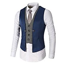 Men Slim Fit Business Suit Vests - Blue