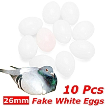 10 Pcs Fake Artificial White Eggs Faux for Pigeon Chicken Birds Breeding 26mm