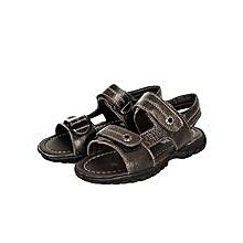 Dark Brown Open Sandals With Velcro Straps In The Middle And In Front
