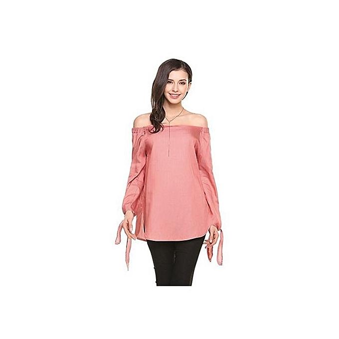 132f4db127 Pink Women T-shirt Off Shoulder Crop Top Long Sleeve Sexy T Shirt Women  Summer Casual T-shirts Female Short Hot Tops Tee ClothesL