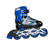 Full-set Tracer Adjustable Inline Skates with Helmet and Protective Pads- Size 39-42 - Blue & White