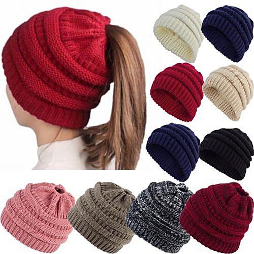 860d4616 Generic Ponytail Beanie Hat Women Messy Bun Crochet Cap Winter Warm Knitted  Stylish