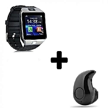 DZ09 1.56 Smart Watch - 0.3MP Camera + Mini Earphone Headset - Silver Black