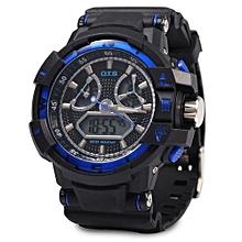 Men Sport Digital Luminous Analog Quartz Watch-SAPPHIRE BLUE + BLACK