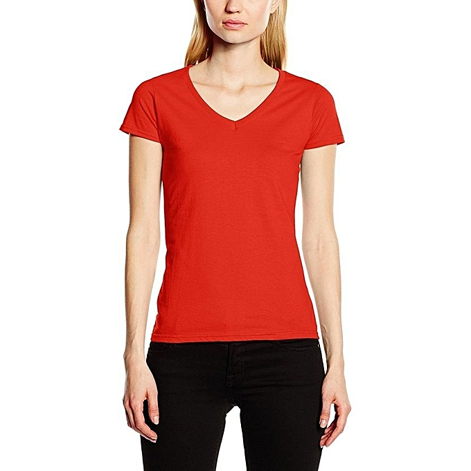 c0398009 FRUIT OF THE LOOM Red 100% Heavy Cotton Lady's V-Neck T-Shirt @ Best ...