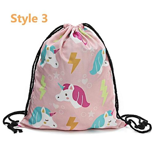 a54ef5487048 Buy Generic Women Girls Unicorn Backpack 3D Printing Travel Softback  Drawstring School Bag 3    Best Price